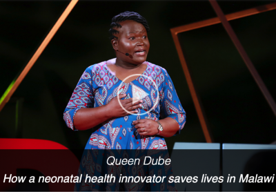 """Queen Dube TEDMED talk """"How a neonatal health innovator saves lives in Malawi"""""""